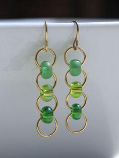 Green Ombre Gold Plated Jumpring Czech EBead by ThatGirlsDesigns, $6.00
