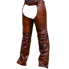 Allstate Biker Style Mens Rubbed Brown Leather Motorcycle Chaps made of brown buffalo leather with rubbed brown accents with jean style pockets, leg zippers for easy on or off, belted for waist adjustment, and fully trimmable for the most accurate fit for men bikers and motorcycle riders. Cowhide Leather, Brown Leather, Motorcycle Chaps, Biker Wear, Biker Style, Jeans Style, Leather Pants, Buffalo, Mens Fashion