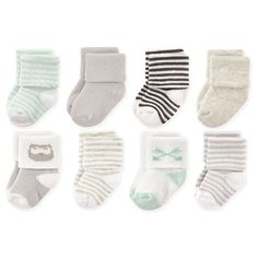 6 Pairs Of Soft Baby Socks Everyday Wear Plain Pink /& Mint Green Turn Over Socks