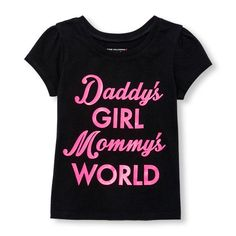 Place Shops Toddler Short Sleeve 'Daddy's Girl, Mommy's World' Glitter Graphic Tee - Black T-Shirt - The Children's Place