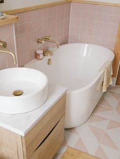 Beautiful Bathrooms, Modern Bathroom, Small Bathroom, Bathroom Pink, Bathroom Ideas, Bathroom Renovations, Home Remodeling, Complete Bathrooms, Laundry In Bathroom