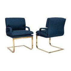 Vintage Brass & Blue Linen Chairs - A Pair