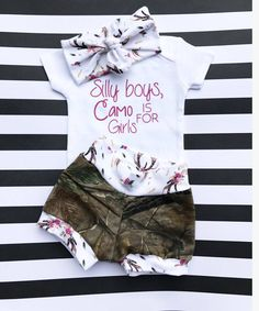 Baby girl outfit-whimsical baby-camo baby-hunting baby-camo girl-toddler clothing-coming home outfit-take home outfit-baby shower gift-baby - Hannah Latimer - Baby Girl Fall Outfits, Little Girl Outfits, Toddler Girl Outfits, Baby Girl Fashion, Kids Outfits, Girl Toddler, Camouflage Baby, My Baby Girl, Baby Girl Newborn