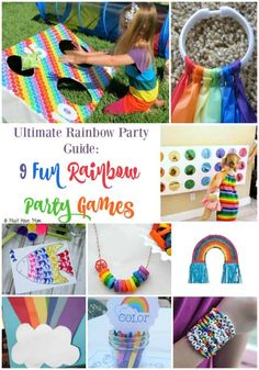 Ultimate Rainbow Party Theme Guide: 9 Fun Rainbow Party Game Ideas and Activities. These rainbow gam Fiesta Little Pony, My Little Pony Cumpleaños, My Little Pony Birthday, Rainbow Party Games, Rainbow Unicorn Party, Rainbow Parties, Girl Party Games, Diy Rainbow Party Decorations, Halloween Decorations