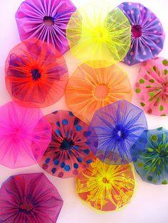 Suffolk puffs. Blue Mountain Daisy: Yo Yo Crazy!!--Yo Yo's from netting/tule.