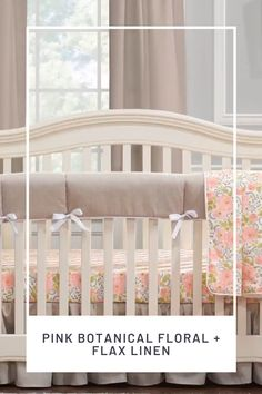 Liz and Roo's Pink Botanical Floral is a whimsical print that brings together pinks, peach, flax, and greens for an eye-catching design. Pairing it with our flax linen creates a nice balance of neutral and print. You will love the look of this collection on your baby girl's crib! Shop this floral crib bedding today!