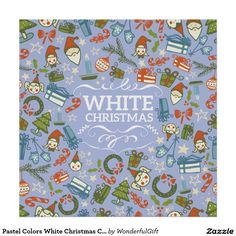 Pastel Colors White Christmas Characters Pattern Poster