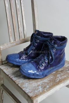 Carol Christian Poell - Object dyed, no seam drip-rubber blue leather sneaker - Electric blue - (€1553 -> $1980.00) - Inspiration