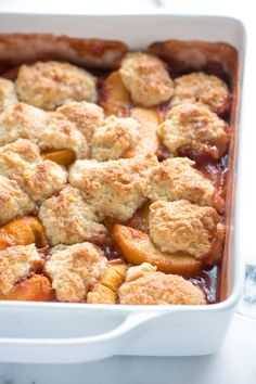 Peach Cobbler from @J O + Adam - Inspired Taste - Perfectly capture the spirit of fall with this easy recipe for peach cobbler.