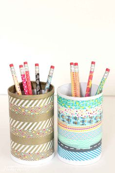 An empty salt container turned into a pretty pencil holder.