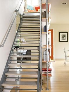 Industrial stairs are groovy and inexpensive.