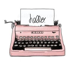 Pink Old Typewriter Illustration (image only) Image Tumblr, Retro Typewriter, Antique Typewriter, Digital Print, Digital Papers, Digital Scrapbooking, Tumblr Stickers, Phone Stickers, Fashion Sketches