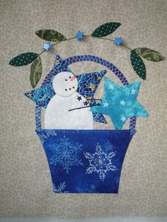 """Block 2 - January Bunny Hill's """"A Tisket a Tasket"""" Block completed. Hand Applique, Hand Embroidery Patterns, Applique Patterns, Applique Quilts, Sewing Patterns, Quilt Block Patterns, Pattern Blocks, Quilt Blocks, Snowman Quilt"""