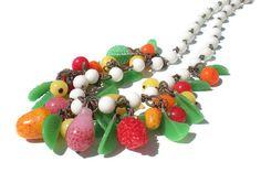 Glass Fruit Necklace Art Glass Summer Fruits Molded & Lampwork
