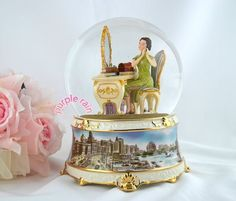 Purple Rain Forest musical box waterglobe snow globe - shanghai lady