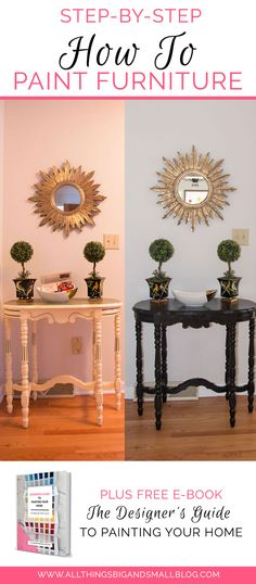 How To Paint Furniture High Gloss | Refinishing Old Furniture step-by-step DIY Painted furniture by All Things Big and Small