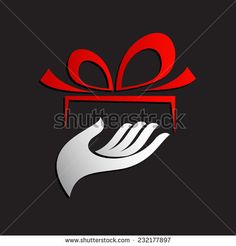 Vector sign give a gift