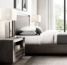 Check this amazing bedroom side table design to inspire you! Mens Bedding Sets, Side Tables Bedroom, Bedside Tables, Diy Bedroom Decor, Home Decor, Bedroom Ideas, Decorating On A Budget, Bed Design, Cool Furniture