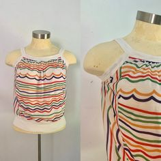Rainbow Stripes Tank Tee Top // Vintage 1960s 1970s LGBTQ Summer Fashion Mod Girl, Baggy Trousers, Top Vintage, Striped Tank, Green Stripes, Gay Pride, 1970s, Knitwear, Rainbow