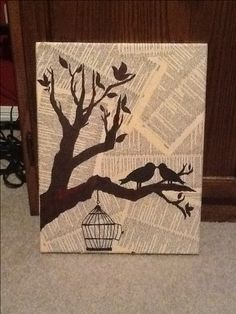 DIY canvas art using Mod Podge, old dictionary pages, and permanent markers
