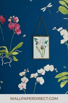 A beautiful large scale floral design with elegant orchid flowers. Shown here in the Indigo blue colourway. Orchid Flowers, Orchids, Orchid Wallpaper, Blue Wallpapers, Indigo Blue, Sadie, True Colors, Eye Candy, Floral Design