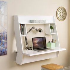 Features:  -Studio collection.  -Material: Laminated composite wood.  -Finish: Pure white.  -Mount at any height with metal hanging rail system.  -Cable and wire management keeps desk organized.  -Inc