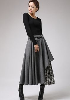 Long Gray Skirt - Tea Length Skirt - Warm Winter Skirt - Houndstooth - Winter Fashion - Wool Clothes - Black and White - Warm Gray Wool  720