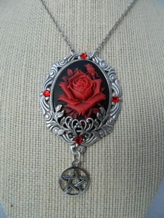 The Gothic Rose Pentagram Necklace by by ForeverHalloween on Etsy, $38.00