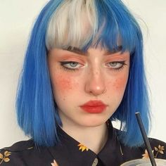 Multicolored Hair Color is one of the new and fast booming trends. You can get the same look in minutes using Hair Wigs as this might damage your natural hair Hair Dye Colors, Hair Color Blue, Green Hair, Blue Hair, Scene Hair Colors, White Hair, Hair Streaks, Hair Highlights, Color Streaks
