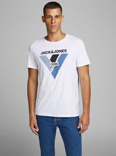 New range of men's t-shirts: plain, designer & and printed t-shirts in different colours. Buy new arrivals at JACK & JONES. New T Shirt Design, Shirt Designs, Tee Shirt Homme, Man Logo, Latest T Shirt, Jack Jones, T Shirts, Shirt Style, Mens Tops