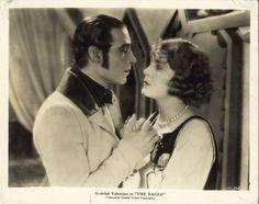 THE EAGLE (1925) Rudolph Valentino & Vilma Banky Silent Film Romance Close Shot