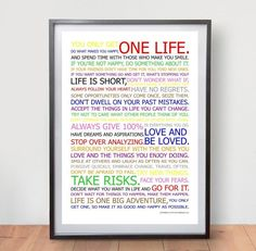 Motivational Life Manifesto Poster In Color Wall Art Picture Print Great Gift ! #ArtDeco
