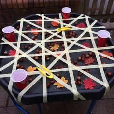 Tuff Spot Tuff Tray ideas to invite playful learning Reggio Emilia, Motor Skills Activities, Toddler Activities, Autumn Eyfs Activities, Childcare Activities, Outdoor Preschool Activities, Fine Motor Activity, Nursery Activities Eyfs, Sensory Activities