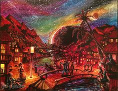 this is how I imagine a night out in magical mountain village. Berlin, Mountain Village, Psychedelic, My Arts, Night, Drawings, Illustration, Artist, Artwork