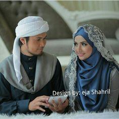 Wedding dress,shawl & jubah design by ejashahril Hijabi Wedding, Wedding Hijab Styles, Muslimah Wedding Dress, Muslim Wedding Dresses, Hijab Bride, Muslim Brides, Muslim Couples, Malay Wedding Dress, Classic Wedding Dress