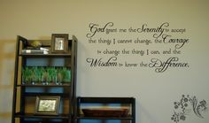 God grant me the Serenity to accept - Serenity Pray - Family wall Decals - Wall Decal - Wall Vinyl - Wall Décor - Decal - Kitchen Wall Decal $16.00