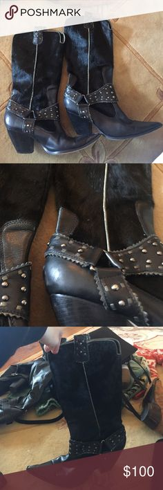 Black fur leather cowboy boots Gorgeous black leather cowboy boots with real cow fur! 3in heel in amazing condition. I always take offers! =) Shoes