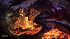 League of Legends Riven vs Shyvana HD Wallpaper 1920×1080
