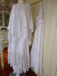 Lagenlook Style | Romantic White Linen Top Lagenlook Prairie Style Plus от vintacci, $ ...
