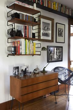 neighbor - jeremy&carrie — The Marion House Book Shelf Inspiration, Interior Inspiration, 1950s House, Living Spaces, Work Spaces, Book Storage, Book Shelves, Mid Century House, Furniture Styles