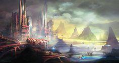 Futuristic City,  sci-fi environment concept.