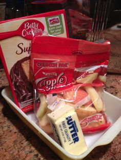 I loved this! I was so easy.   Ingredients: Fresh Fruit, sliced if large Package yellow cake mix (just the mix) Stick of butter How too...  put the fruit slices in a pan, cover with the boxed cake mix, cover it with the stick of melted butter.  Bake at 350 for 35-45 minutes. Serve warm with ice cream