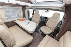 Inside the Elegance i840g European Motorhome for Sale: Spacious and luxurious dining up front.  Feel free to use this image but give credit to http://smartrv.co.nz/motorhomes-for-sale/german/nexxo/nexxo-t690g-2017