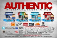 AUTHENTIC DIGITAL MARKETING THE #1 SOCIAL MEDIA COMPANY IN THE WORLD ORDER ALL YOUR #YouTube #Twitter #Facebook #Instagram #Soundcloud NEEDS NOW: http://authenticdigitalmarketing.com
