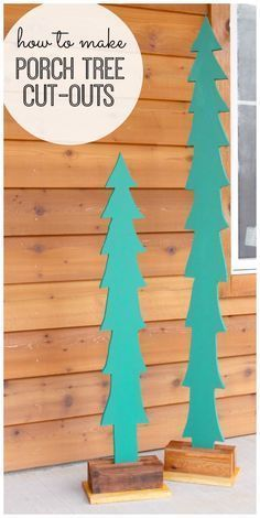 how to make your own porch tree cut-outs - - these are the cutest!! Christmas porch decor idea for the house - this is awesome --- Sugar Bee Crafts