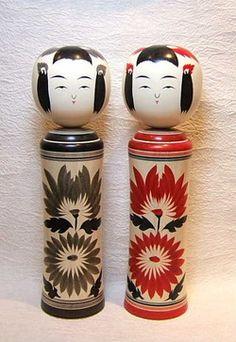鳴子系こけし 柿澤是隆作 赤墨ペア2本組1尺2寸