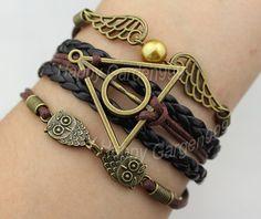 jewelry bracelet bronze harry potter bracelet lover owl bracelet wings bracelet rope bracelet best gift. on Etsy, 3,11 €