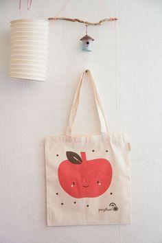 Sac Toile Coton biologique  Imprimé Pomme Rose | organic cotton illustrated tote bag apple | par pergelisol, €16.00