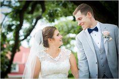 bride and groom walking on UW Madison campus
