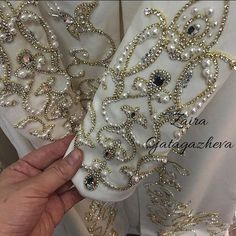 You could have some embroidery like this done in the center front of your dress. Hand Embroidery Dress, Bead Embroidery Patterns, Tambour Embroidery, Couture Embroidery, Hand Embroidery Designs, Ribbon Embroidery, Embroidery Stitches, Tambour Beading, Motifs Perler